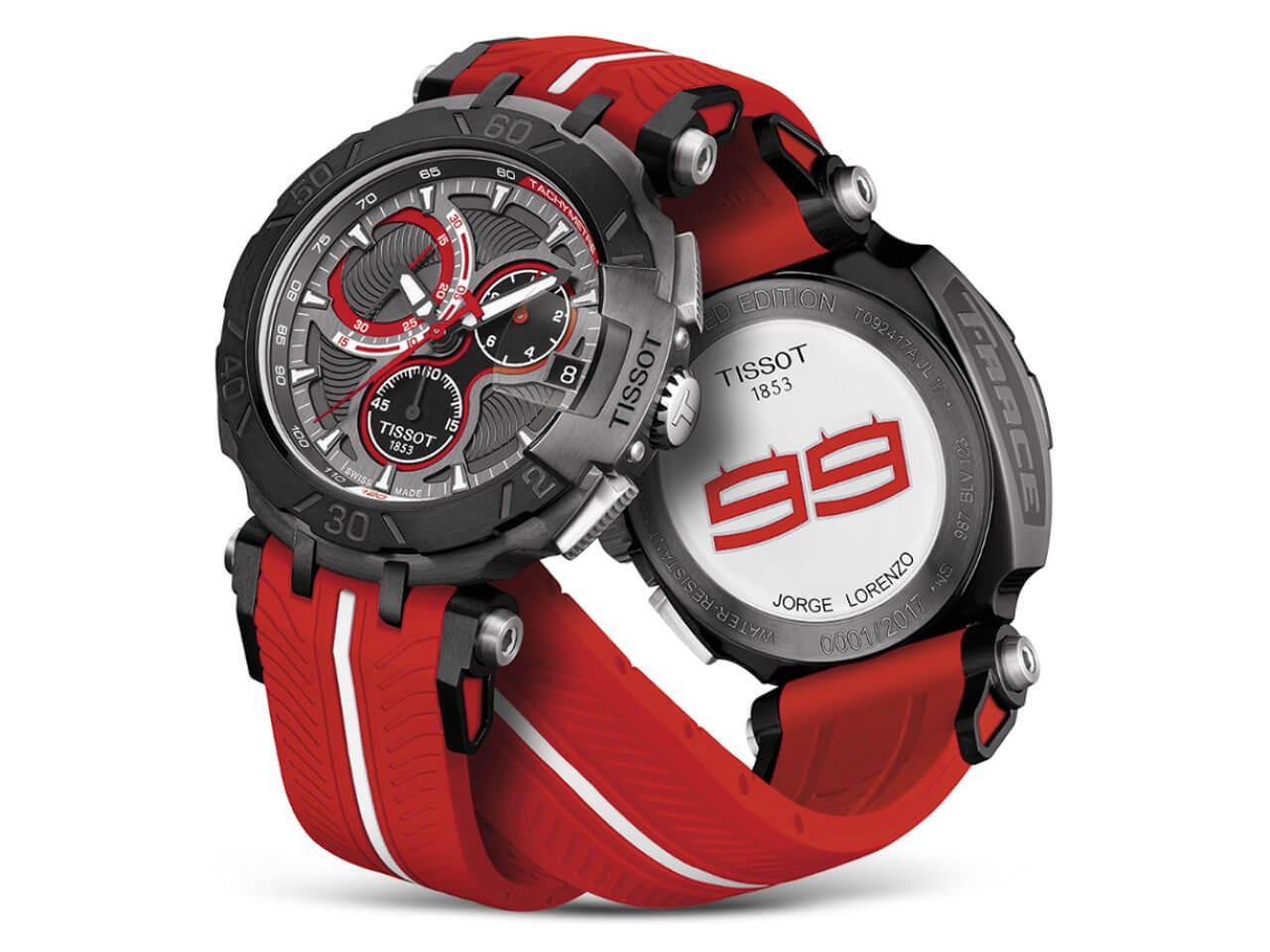 Tissot T Race MotoGP 2017 Chronograph Limited Edition Jorge Lorenzo anthrazit rot